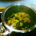 Cook the zucchini for 5 minutes, stir frequently.