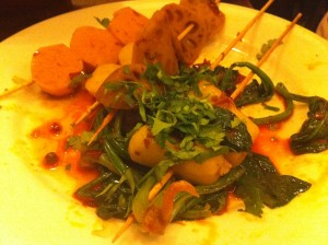 picy (very spicy) octopus and spinach skewers