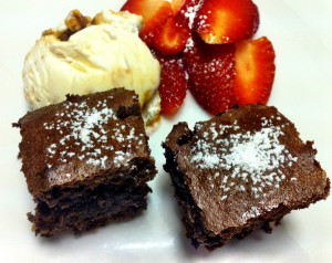 Brownies with Ice-Cream and Strawberries